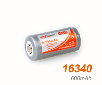 OrcaTorch li-ion Battery 16340 | 600mAh